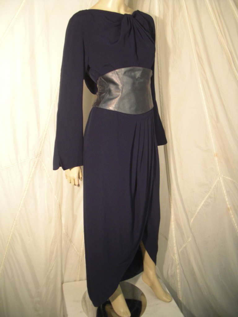 Black 1980s Thierry Mugler Couture Wrap Style Dress with Metallic Leather Cummerbund For Sale