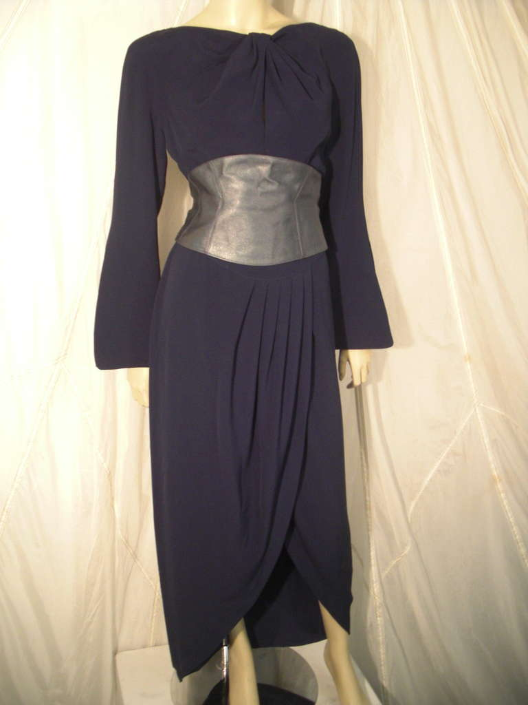 1980s Thierry Mugler Couture Wrap Style Dress with Metallic Leather Cummerbund In Excellent Condition For Sale In San Francisco, CA