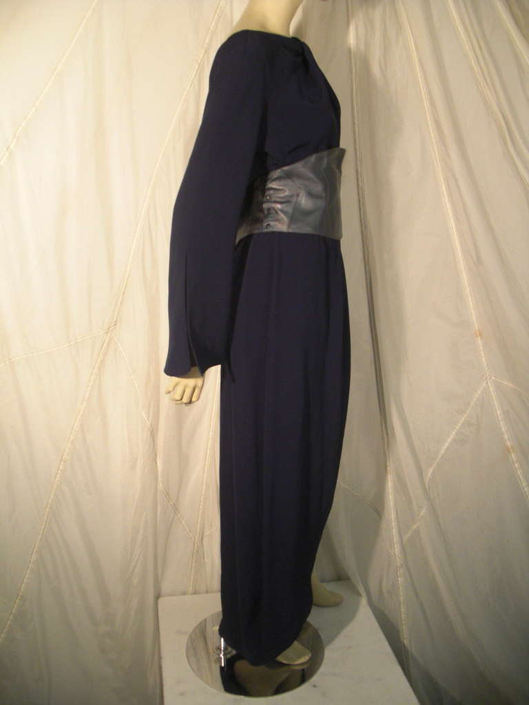 Women's 1980s Thierry Mugler Couture Wrap Style Dress with Metallic Leather Cummerbund For Sale