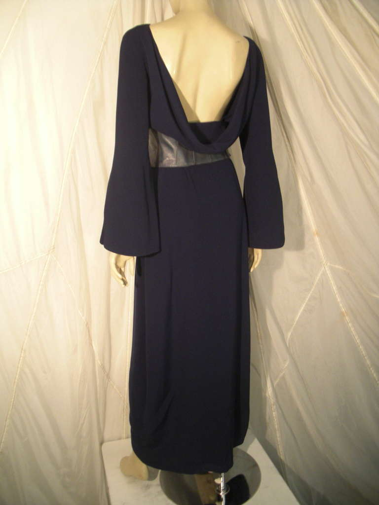 1980s Thierry Mugler Couture Wrap Style Dress with Metallic Leather Cummerbund For Sale 1