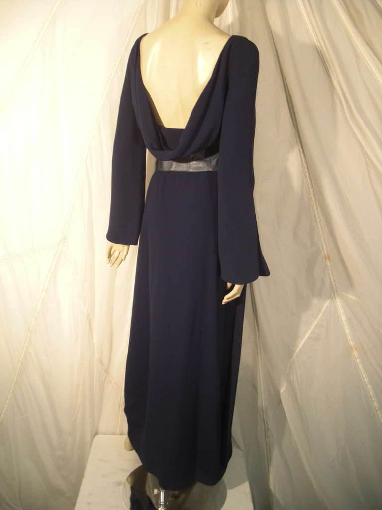 1980s Thierry Mugler Couture Wrap Style Dress with Metallic Leather Cummerbund For Sale 2