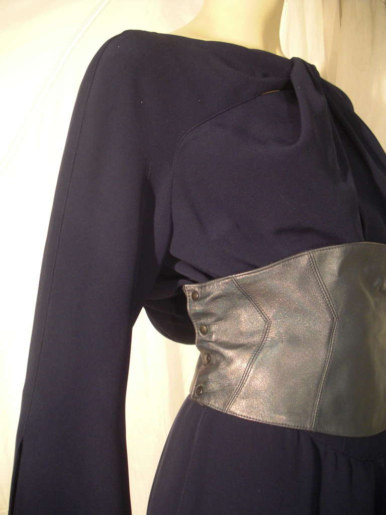 1980s Thierry Mugler Couture Wrap Style Dress with Metallic Leather Cummerbund For Sale 4