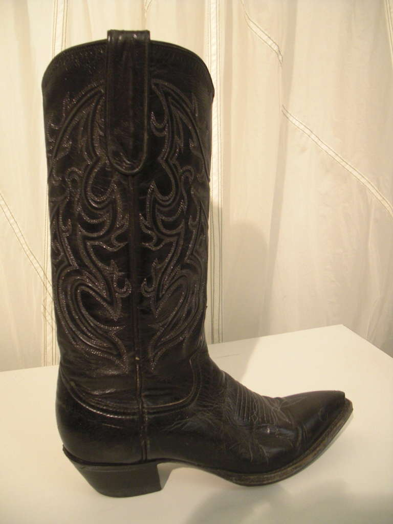 Bleu's Leather Western Boot with Pointed Toe and Stitched Upper 2