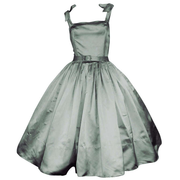 Traina-Norell 50s Mint Green Silk Satin Party Dress 1