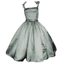 Traina-Norell 50s Mint Green Silk Satin Party Dress
