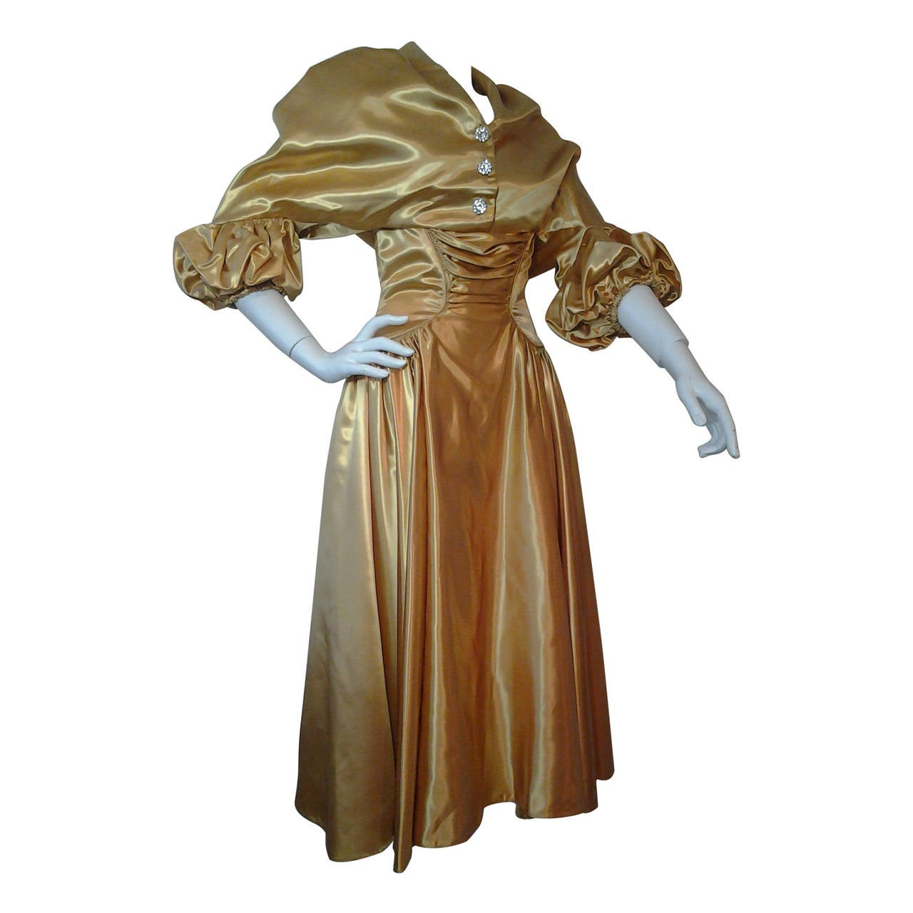 1950s Gold Silk Satin Strapless Dress and Jacket Ensemble 1