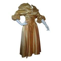 1950s Gold Silk Satin Strapless Dress and Jacket Ensemble