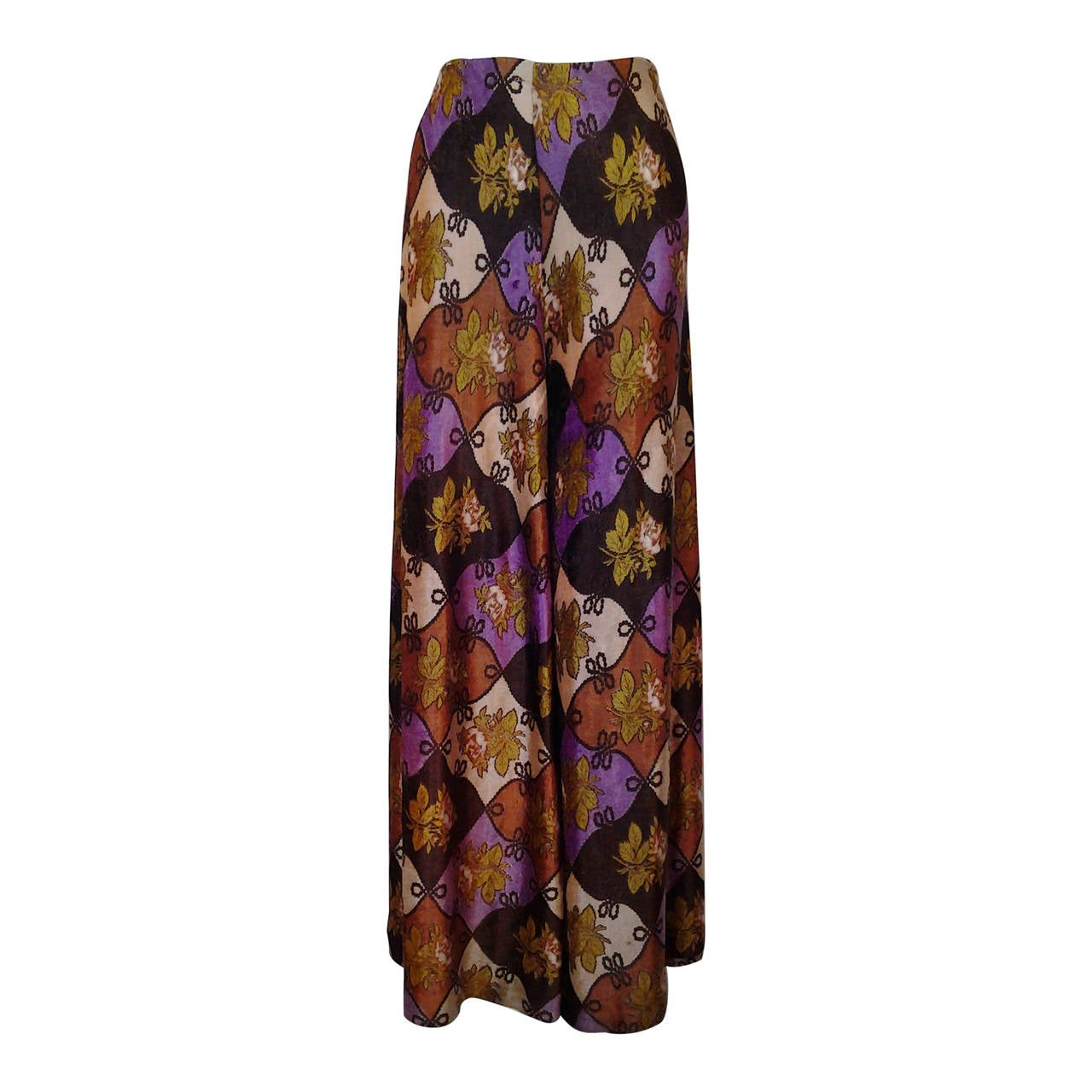 1970s Campus Casuals Panne Velvet Harlequin Pattern Palazzo Pants