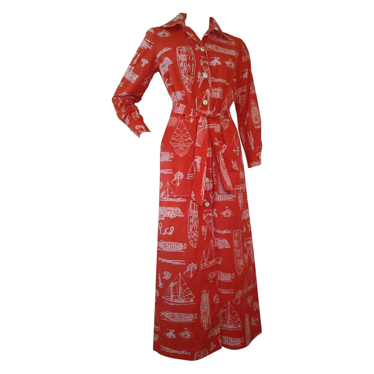 1960s Tori Richard Hawaiian Nautical Print Cotton Maxi Dress