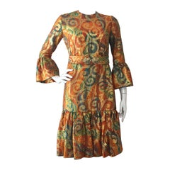 1960s Roger Milot for Fred Perlberg Lame Brocade Ruffle-Hem Cocktail Dress