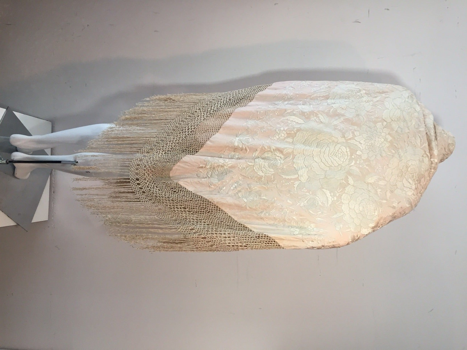 Beige 1920s Cantonese Embroidered and Fringed Silk Shawl in Blush and Pearl For Sale