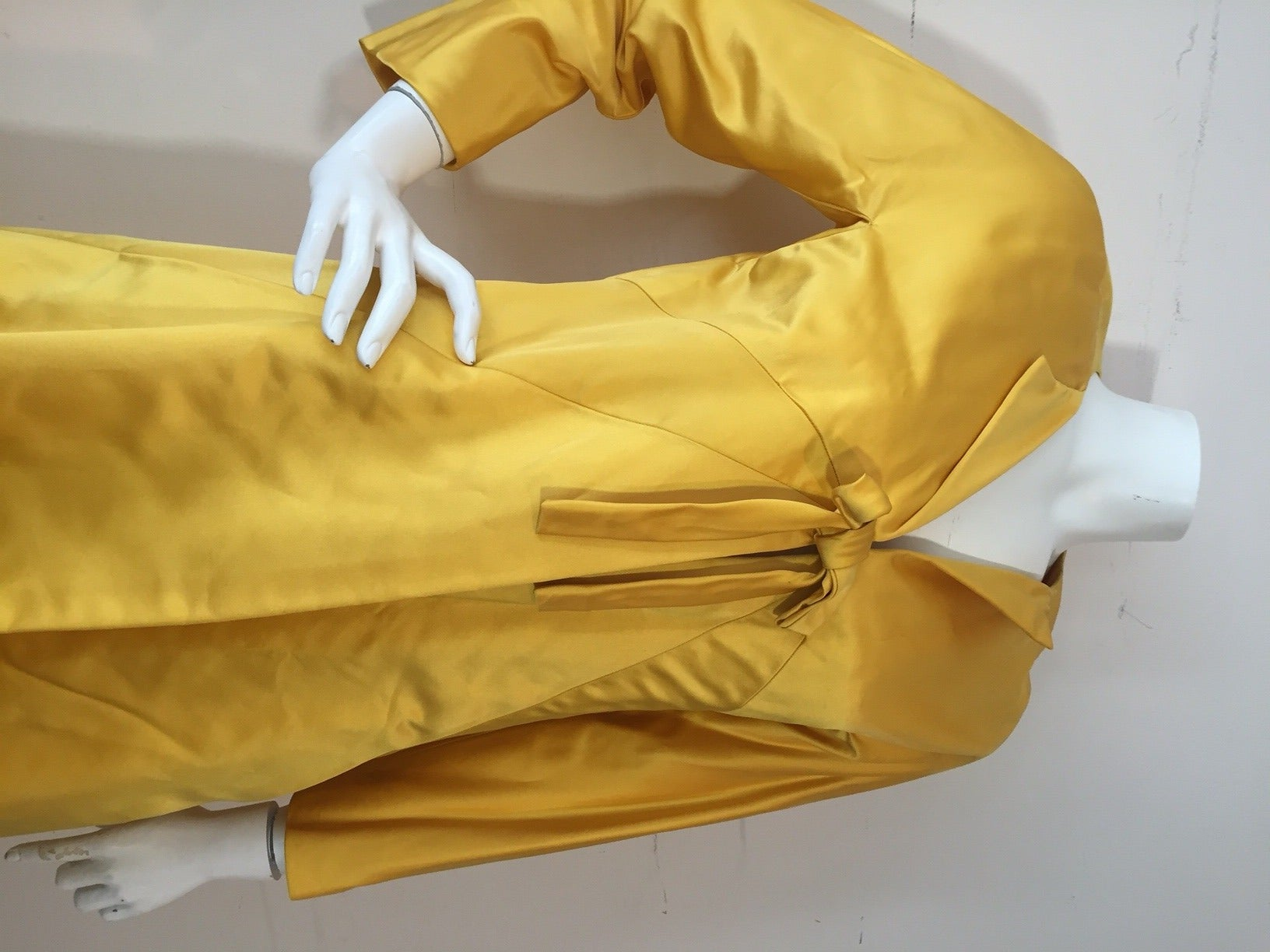1960s Canary Yellow Silk Evening Coat with Sunburst Seaming 5