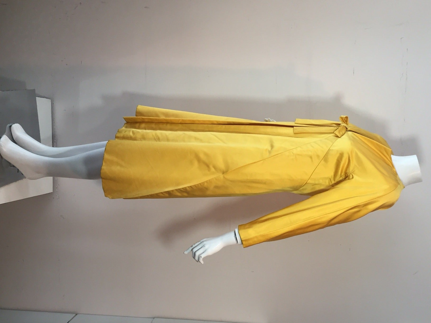 1960s Canary Yellow Silk Evening Coat with Sunburst Seaming 4