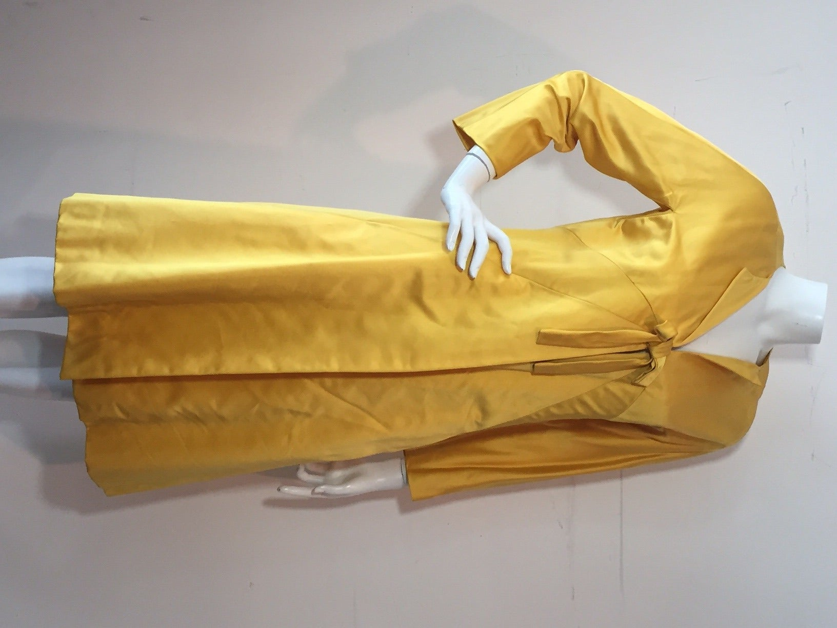 1960s Canary Yellow Silk Evening Coat with Sunburst Seaming 2