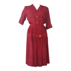 1950s Red Silk Blouse and Pleated Skirt Ensemble