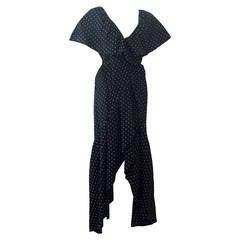 1970s Halston Ruffled Wrap Cotton Silk Polka Dot Gown