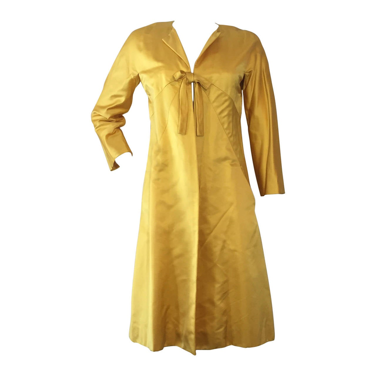 1960s Canary Yellow Silk Evening Coat with Sunburst Seaming 1