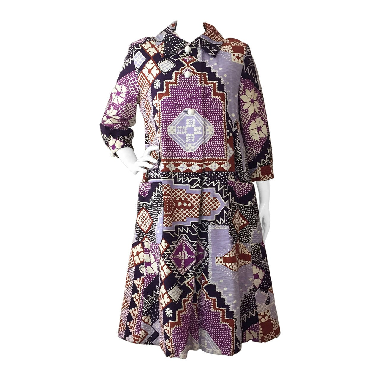 "1960s Bill Blass ""Patchwork"" Style African-Inspired Coat Dress"
