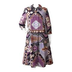 "1960s Bill Blass ""Patchwork"" Style African-Inspired Coat Dress"