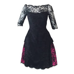1980s Bill Blass Black Lace and Fuchsia Bustle Cocktail Dress