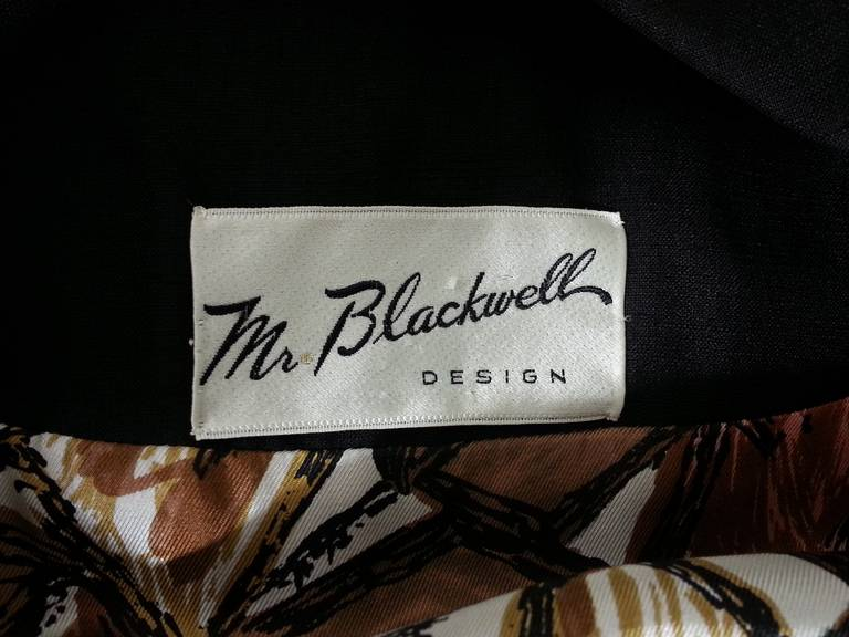 1960s Mr Blackwell Black Silk Double Breasted Evening Jacket 6