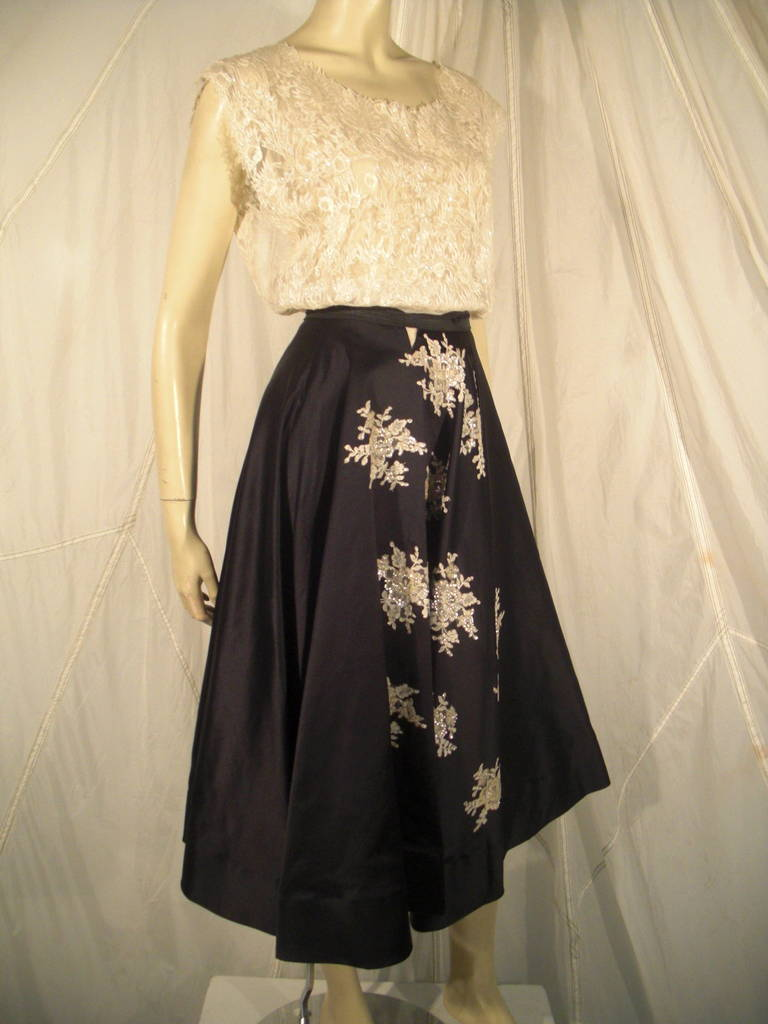1950s Yma Sumac Estate Couture Lace Blouse and Satin Skirt with Floral Applique  Meant to be worn with a belt
