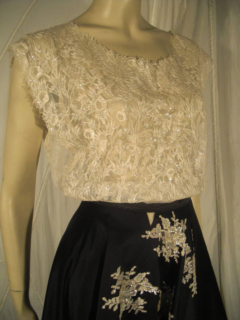 Black 1950s Yma Sumac Estate Couture Lace Blouse and Satin Skirt with Floral Applique For Sale