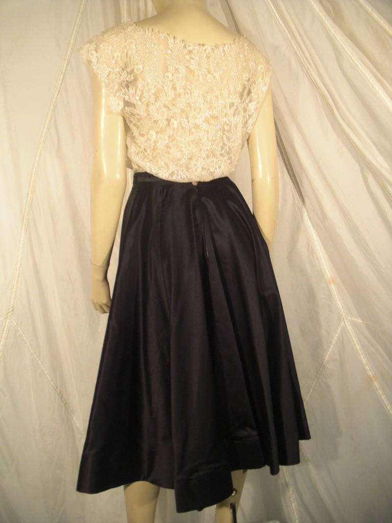 1950s Yma Sumac Estate Couture Lace Blouse and Satin Skirt with Floral Applique In Excellent Condition For Sale In San Francisco, CA
