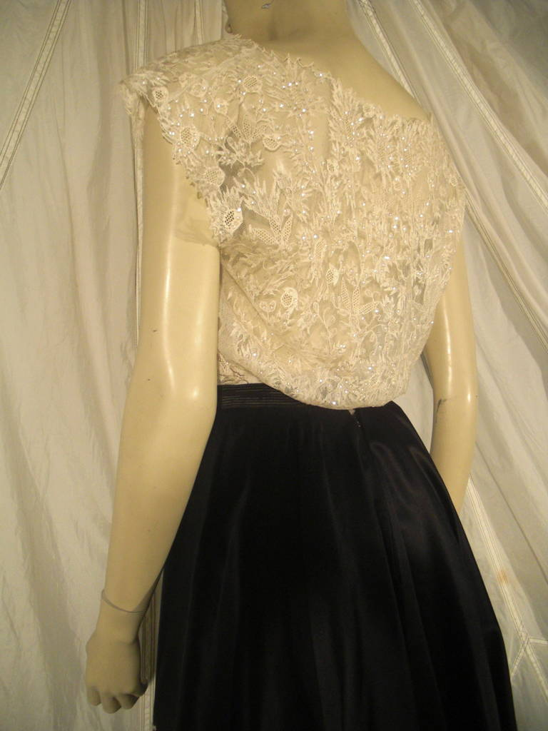 Women's 1950s Yma Sumac Estate Couture Lace Blouse and Satin Skirt with Floral Applique For Sale