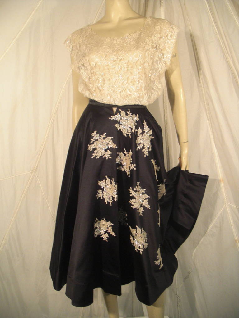 1950s Yma Sumac Estate Couture Lace Blouse and Satin Skirt with Floral Applique For Sale 1