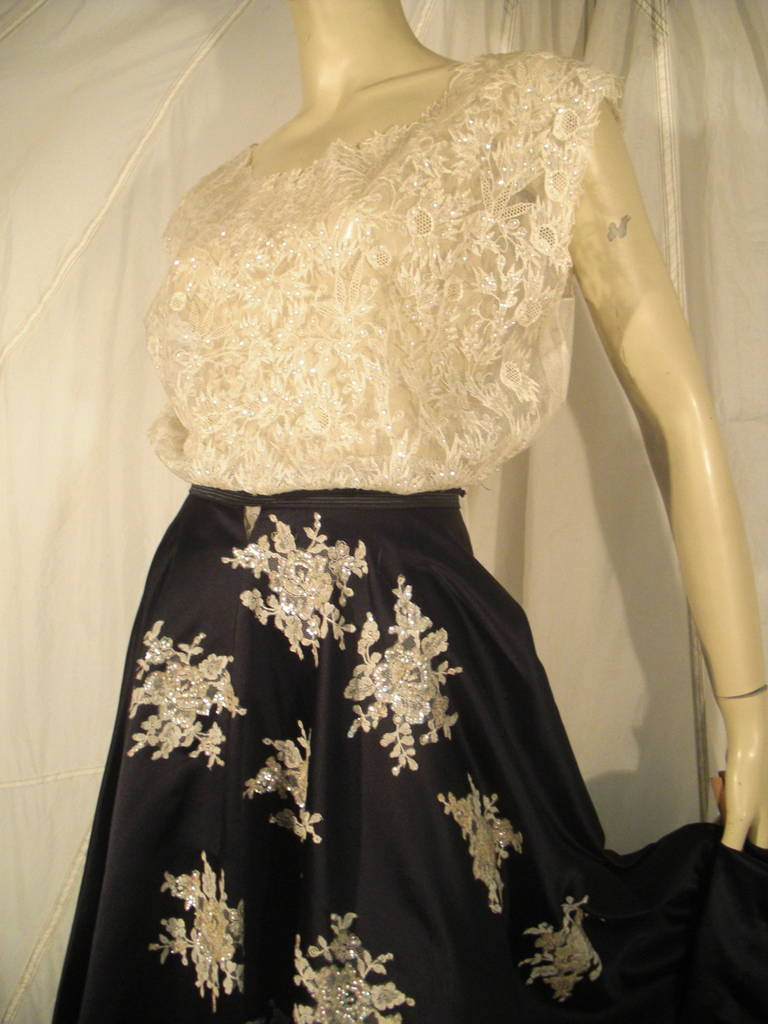1950s Yma Sumac Estate Couture Lace Blouse and Satin Skirt with Floral Applique For Sale 2