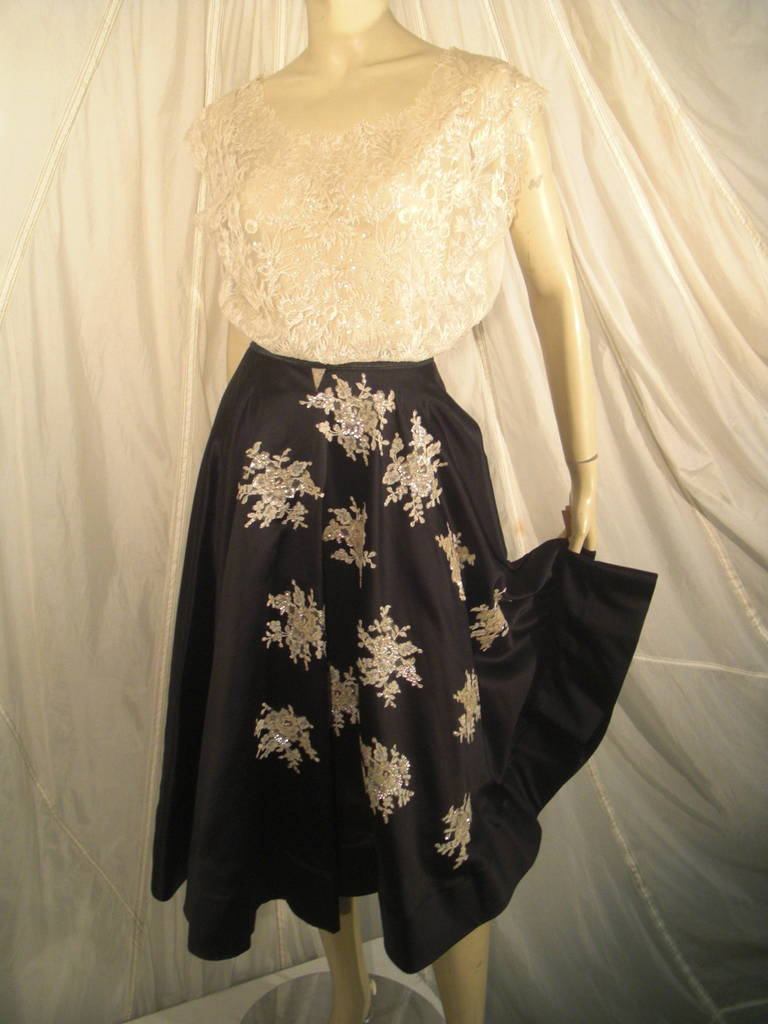 1950s Yma Sumac Estate Couture Lace Blouse and Satin Skirt with Floral Applique For Sale 3