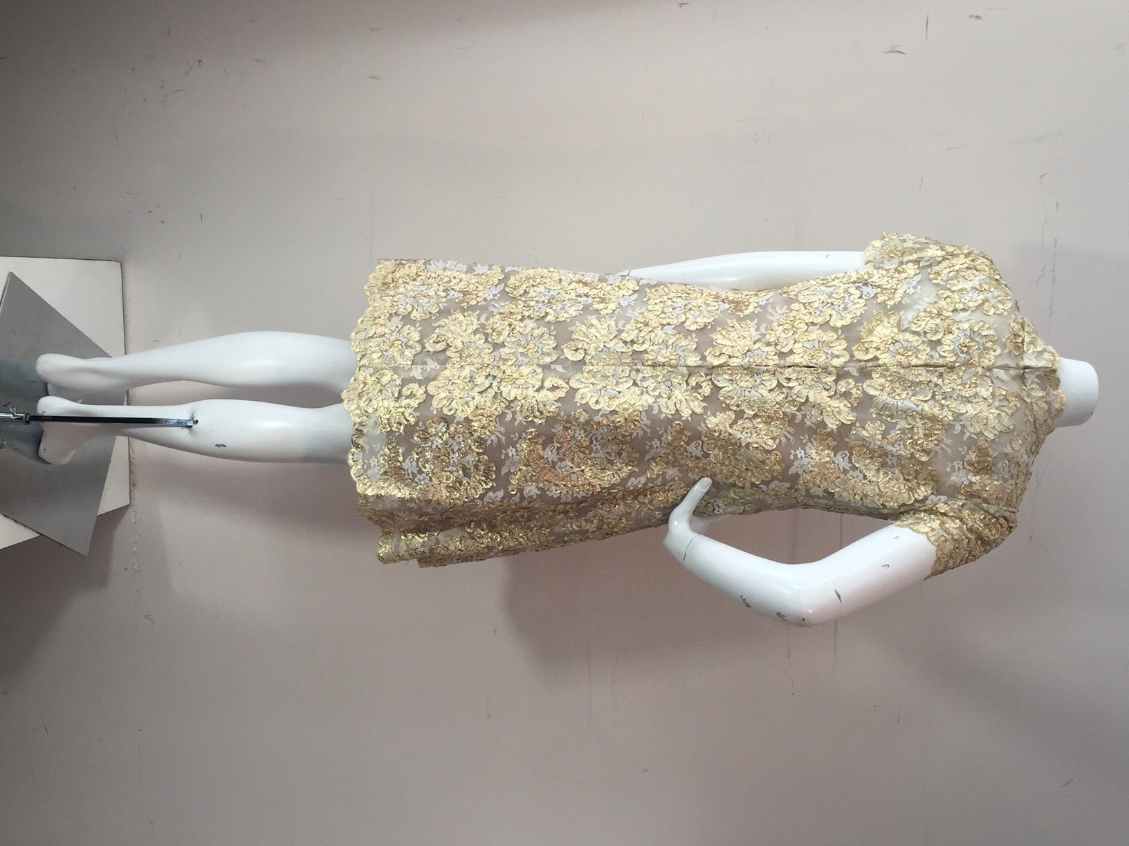 1960s Gold Lame Ribbon Embellished Lace Mini Dress 6