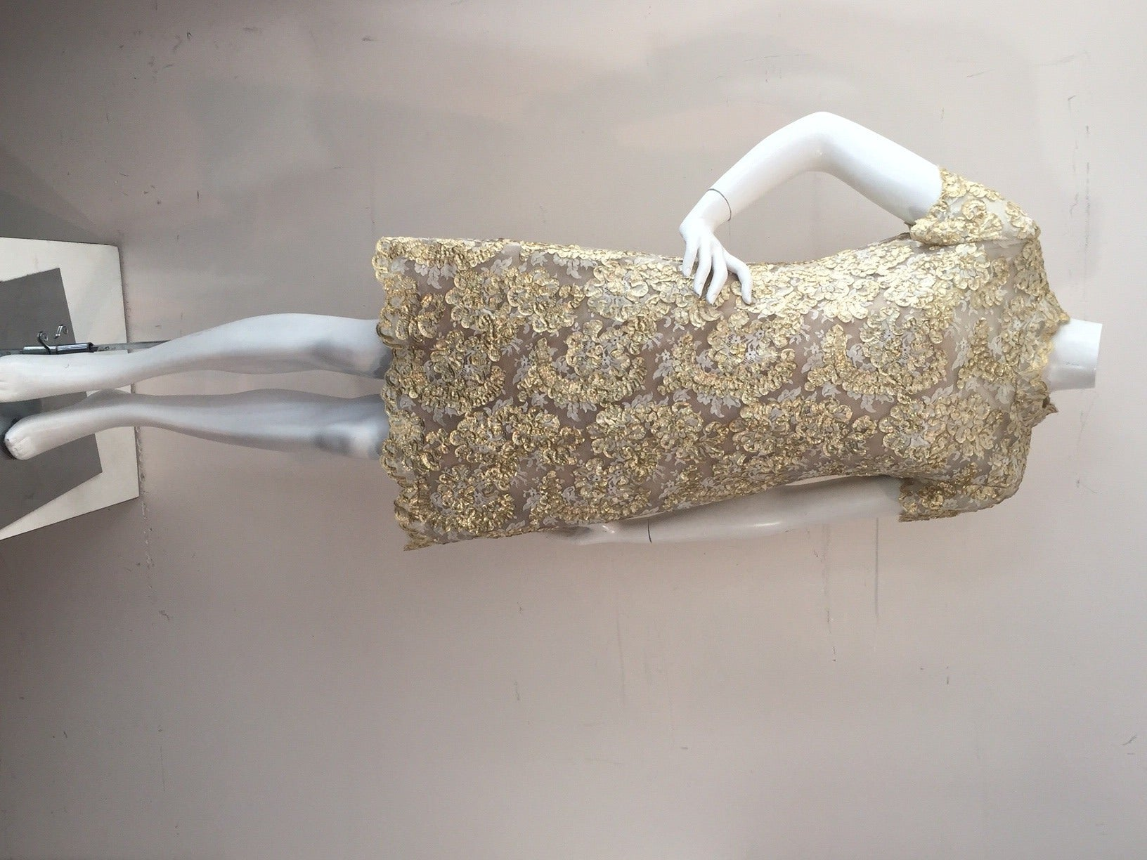 1960s Gold Lame Ribbon Embellished Lace Mini Dress 4