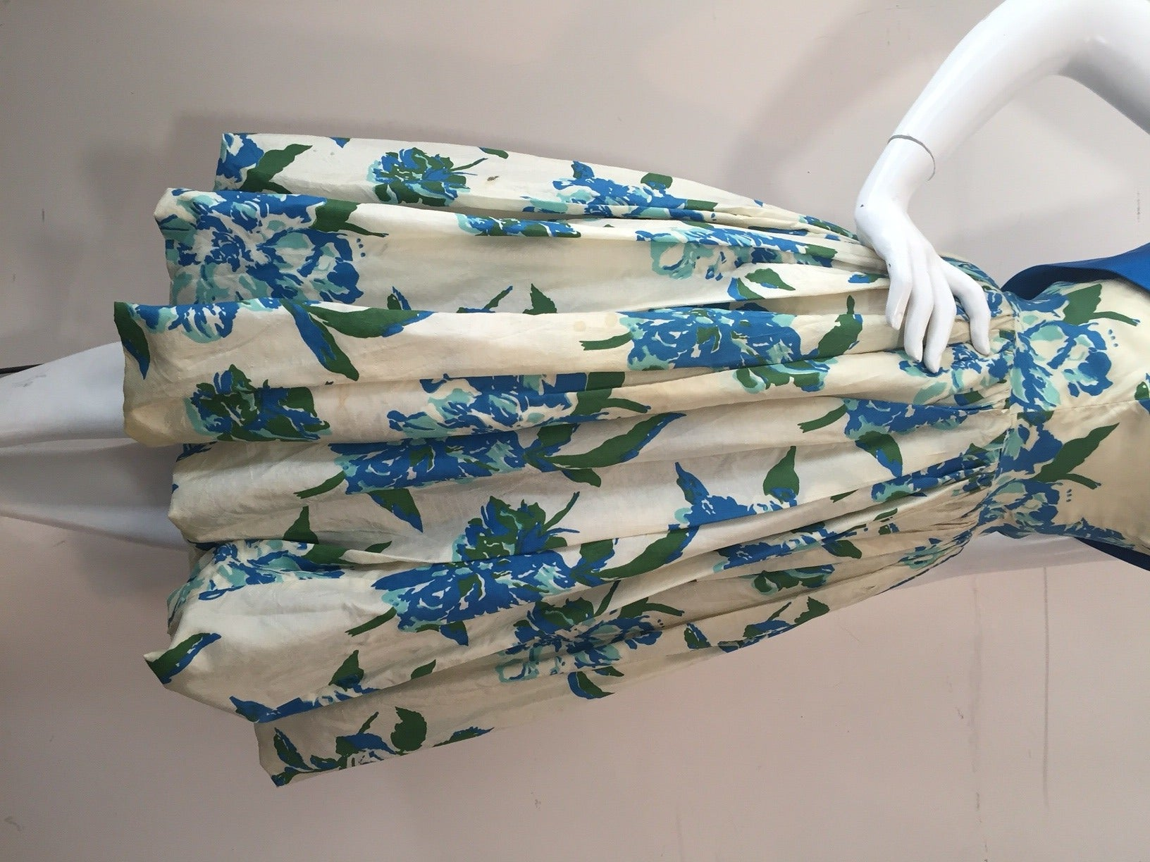1950s Silk Floral Print Strapless Summer Dress in White, Blue and Green 5