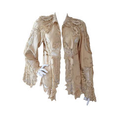 Victorian Lace and Felt Cut-Out Jacket in Cream