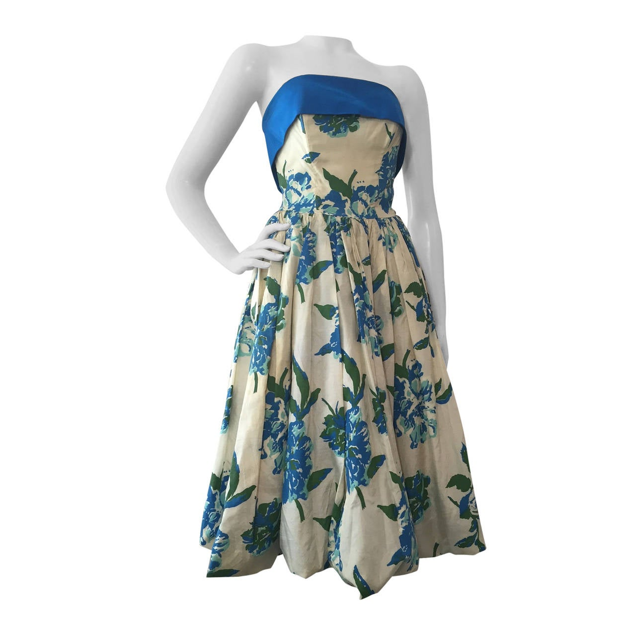 1950s Silk Floral Print Strapless Summer Dress in White, Blue and Green