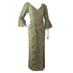 1960s Rose Taft Green and Gold Lame Lace Gown