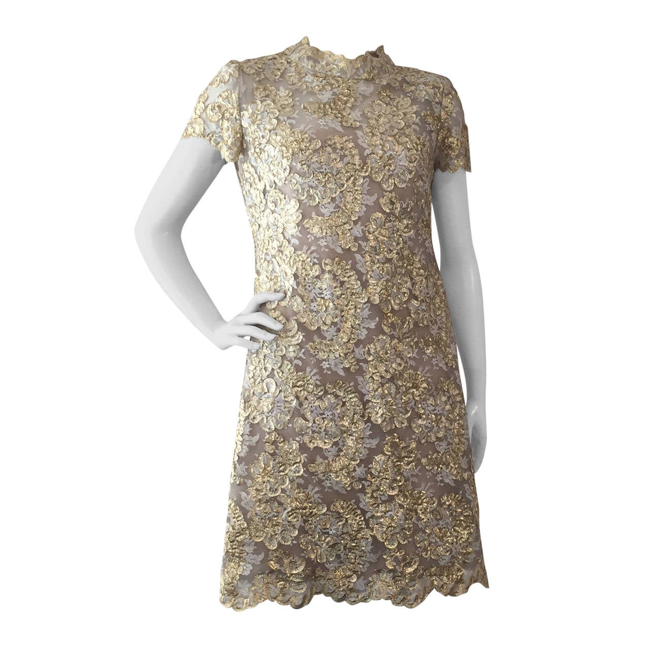 1960s Gold Lame Ribbon Embellished Lace Mini Dress 1