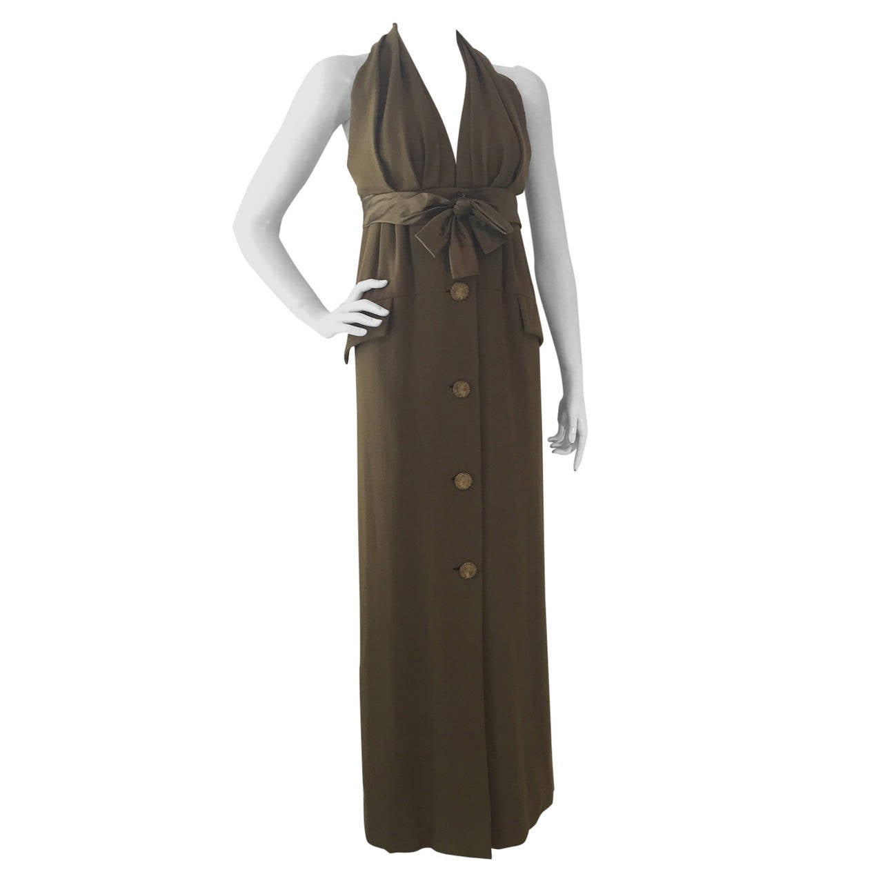 1970s James Galanos Olive Crepe Empire Halter Gown