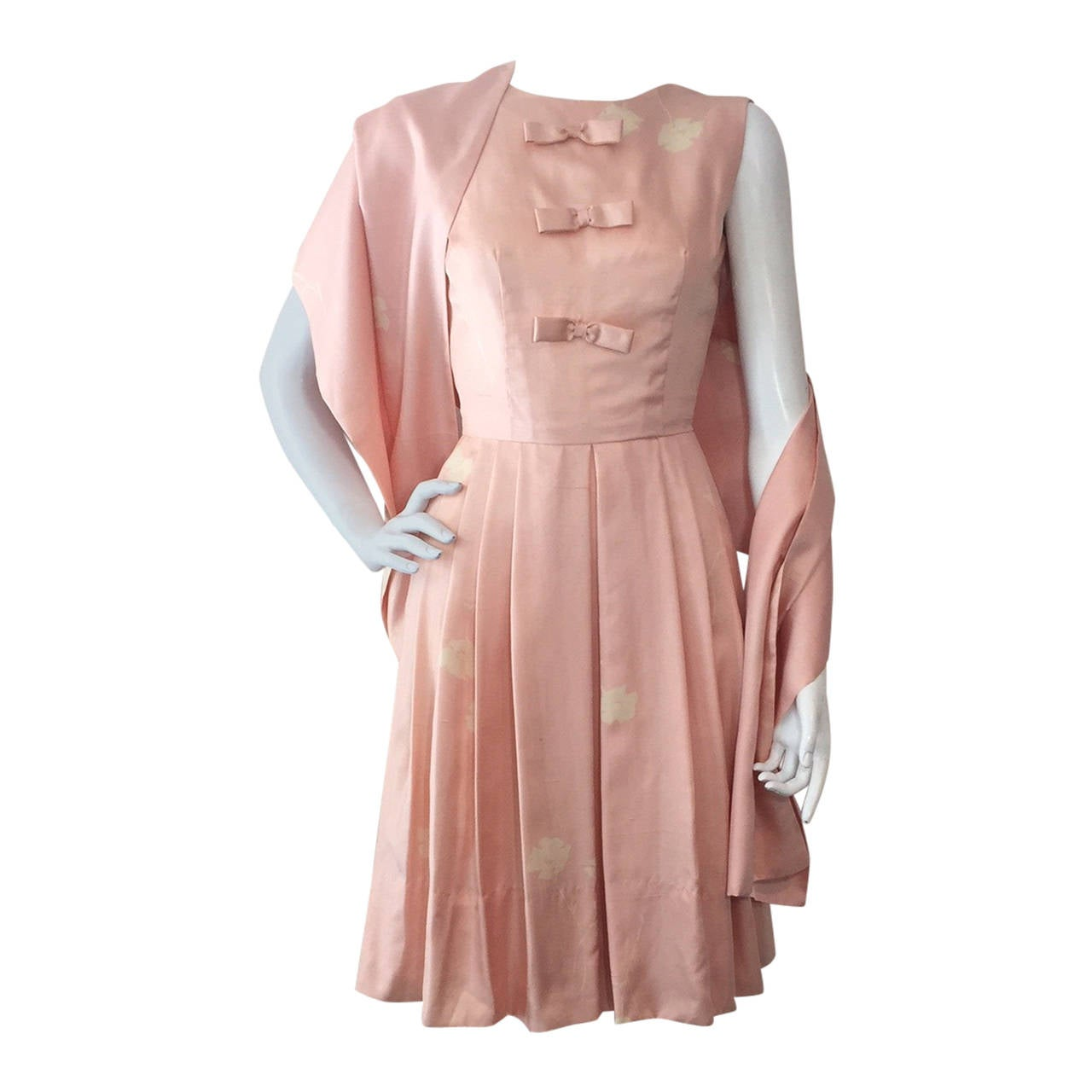 1950s Pink Silk Print Sleeveless Dress w/ Matching Fabric Stole