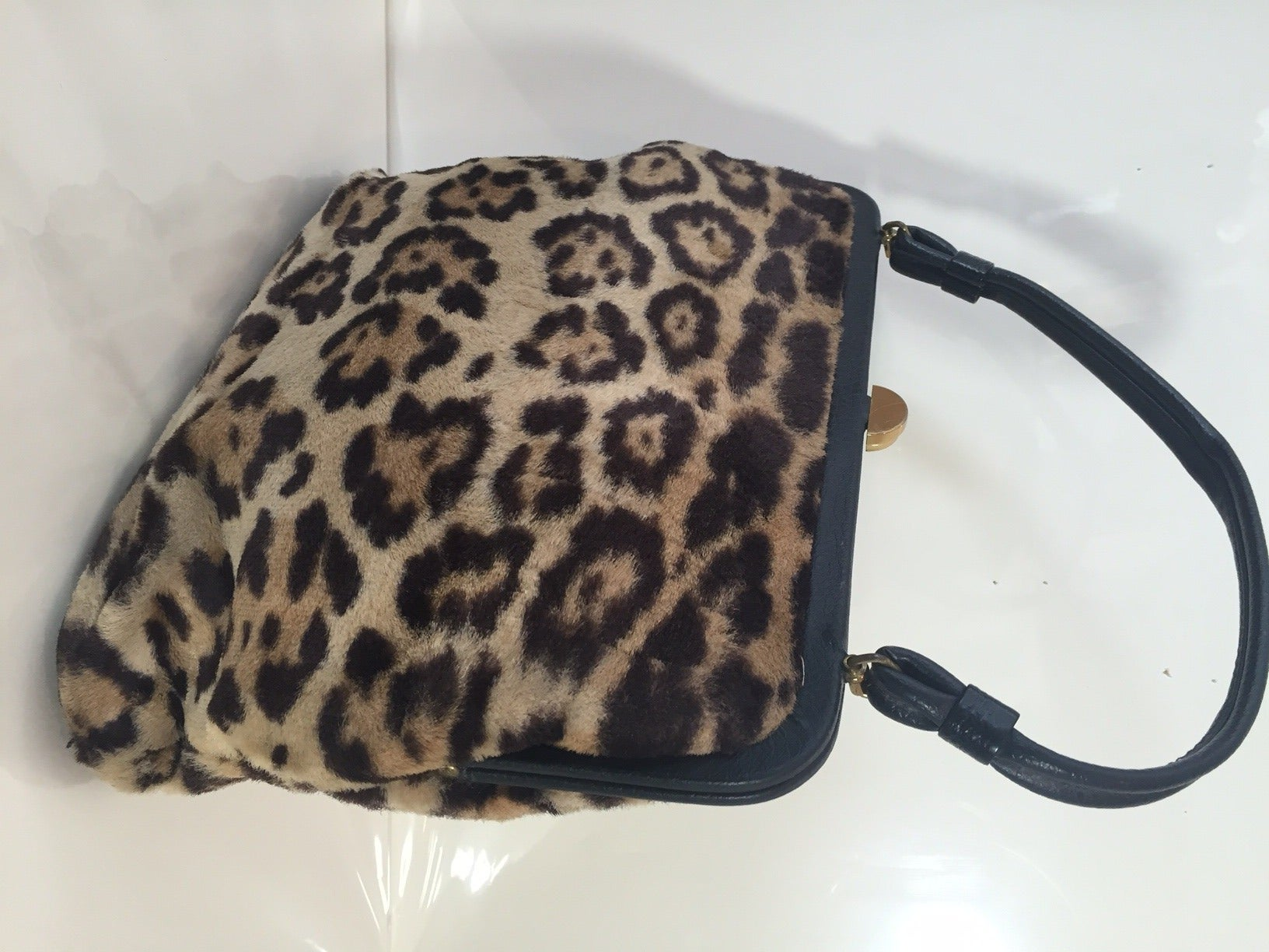 1950s Faux Leopard Fur Handbag 4