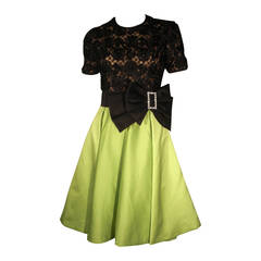 1980s Bill Blass Black Lace and Chartreuse Satin Cocktail Dress in a 1950s Style