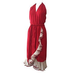1970s Vivid Sexy Red Silk Halter Disco Dress w/ Ruffled Wrap Front