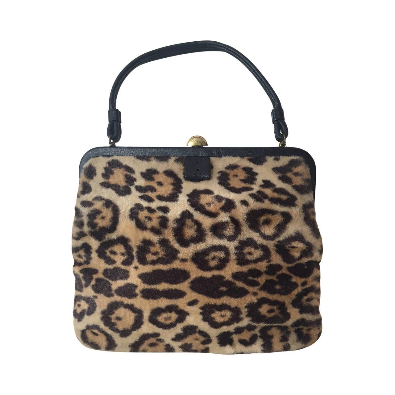 1950s Faux Leopard Fur Handbag 1