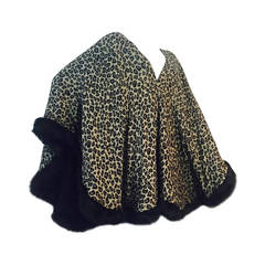 1980s I. Magnin Leopard Print Wool Challis Wrap with Faux Fur Trim