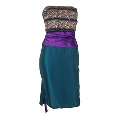1980s Paul-Louis Orrier Teal and Purple Cocktail Dress with Embellished Bodice