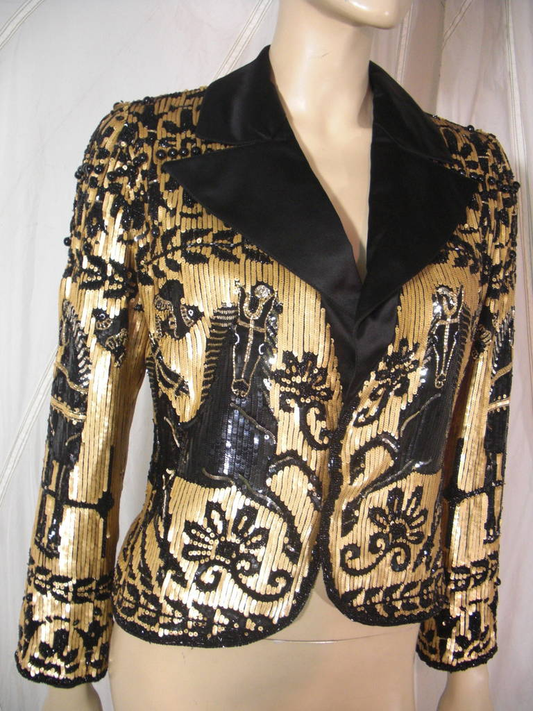 1980s Valentino Black and Gold Sequin Jacket 2