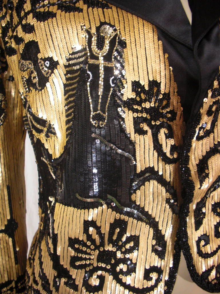 1980s Valentino Black and Gold Sequin Jacket In Excellent Condition In San Francisco, CA