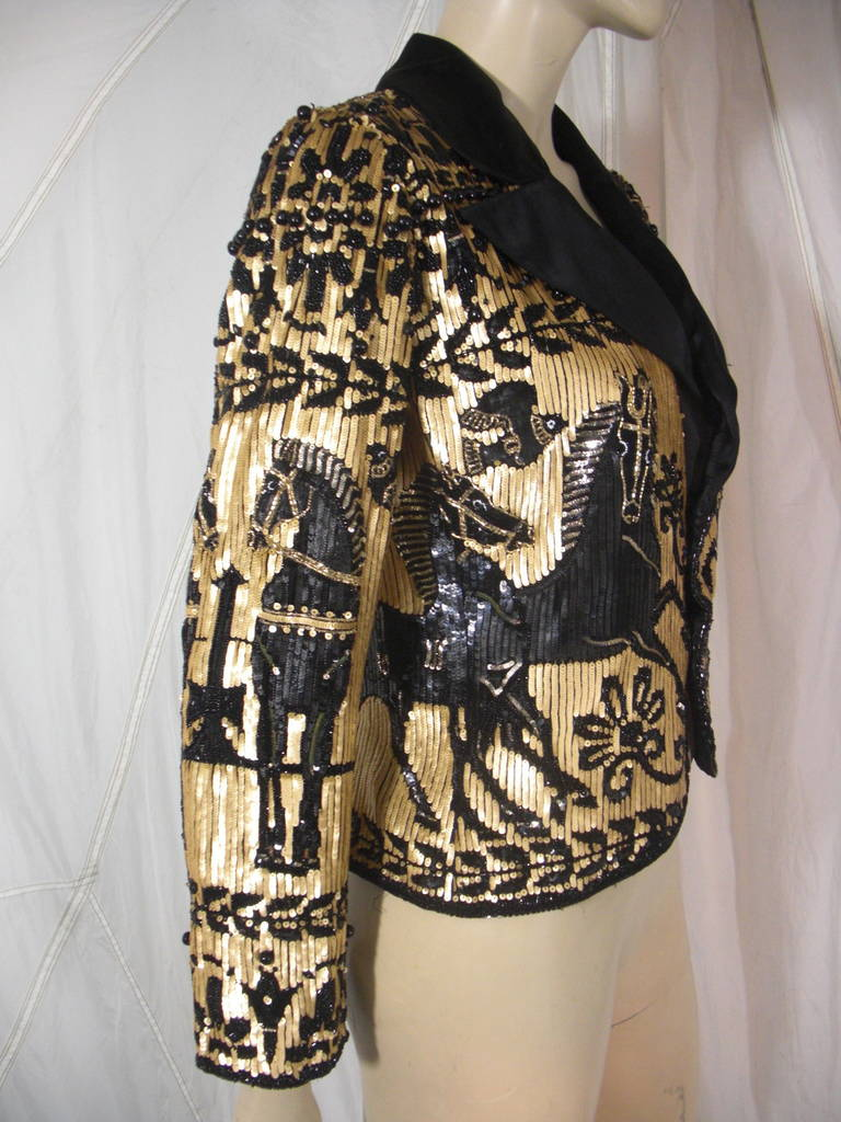 Valentino Black and Gold Sequin Jacket with Horse, Flower and Bird Design with Black Beads on Silk